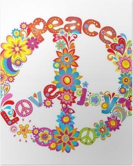 Poster Peace blomma symbol med hippie symbolisk