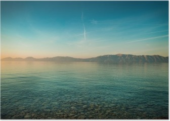 Peaceful landscape with sea and hills before sunrise Poster