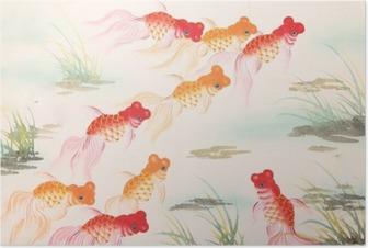 Póster Peces de colores de pintura china