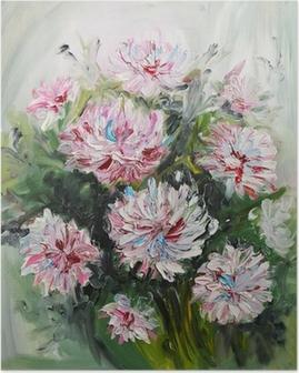 Poster Peinture à l'huile bouquet de fleurs de pivoine