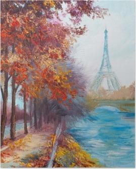 Poster Peinture à l'huile de la Tour Eiffel, France, paysage d'automne