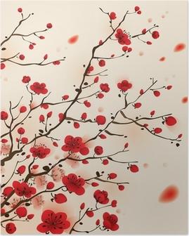 Poster Peinture de style oriental, fleur de prunier au printemps