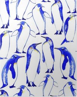 Poster Penguins naadloze pattern.Watercolor hand getrokken illustratie.