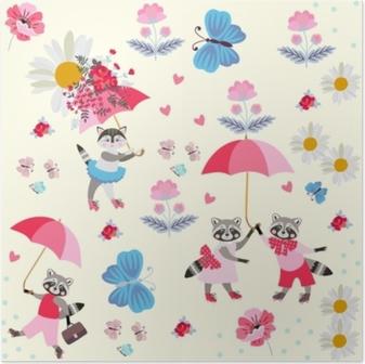 Póster Pequeños mapaches y gatitos divertidos con los paraguas, las mariposas, las flores y los corazones rosados aislados en fondo amarillo claro. Patrón sin fin para niños. Vector de primavera o verano de diseño.