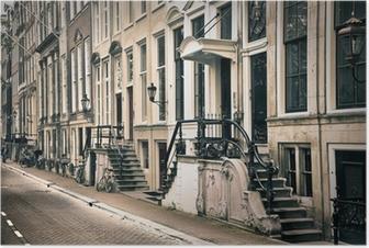 Poster Perspectief van de oude amsterdam