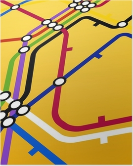 Perspective background of metro scheme on yellow Poster