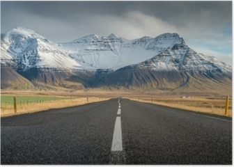 Perspective road with snow mountain range background in cloudy day autumn season Iceland Poster