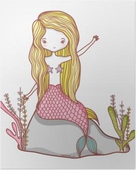 Poster Petit dessin de sirène