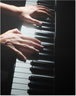 Piano keys pianist hands keyboard Poster