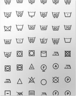 Poster Pictogrammen instellen en wasmachine