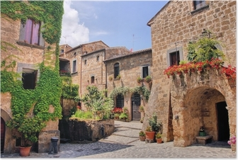 Picturesque corner of a quaint hill town in Italy Poster