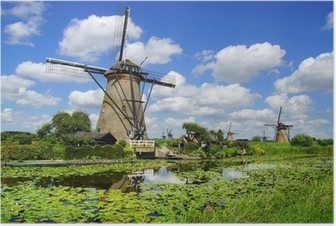 Picturesque landscape with windmills. Kinderdijk Poster