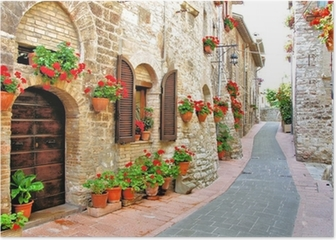 Picturesque lane with flowers in an Italian hill town Poster