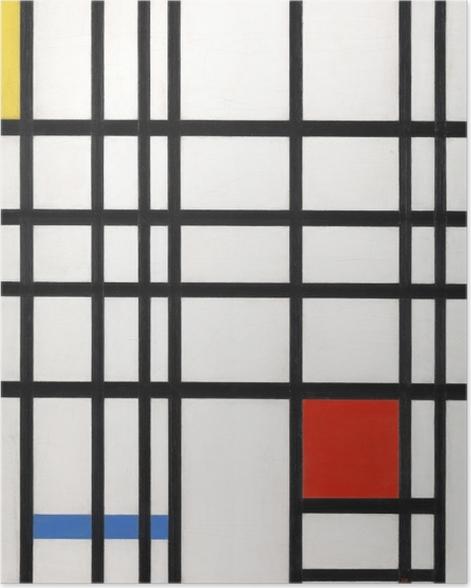 Poster Piet Mondrian - Composition avec jaune, bleu et rouge - Reproductions