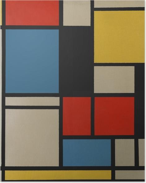 Poster Piet Mondrian - Composition C (no III) avec rouge, jaune et bleu - Reproductions