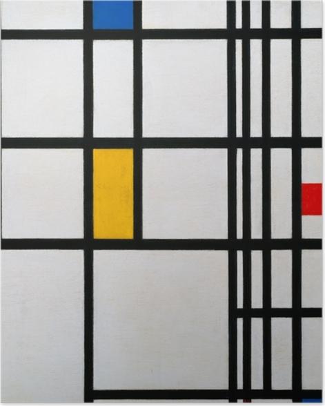 Poster Piet Mondrian - Composition en rouge, bleu et jaune - Reproductions