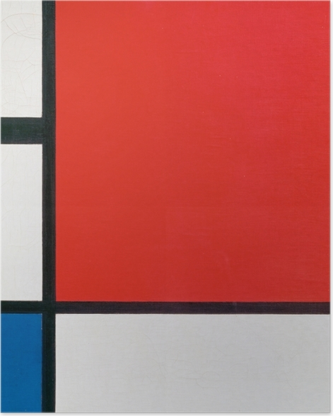 Poster Piet Mondrian - Composition II en rouge, bleu et jaune - Reproductions