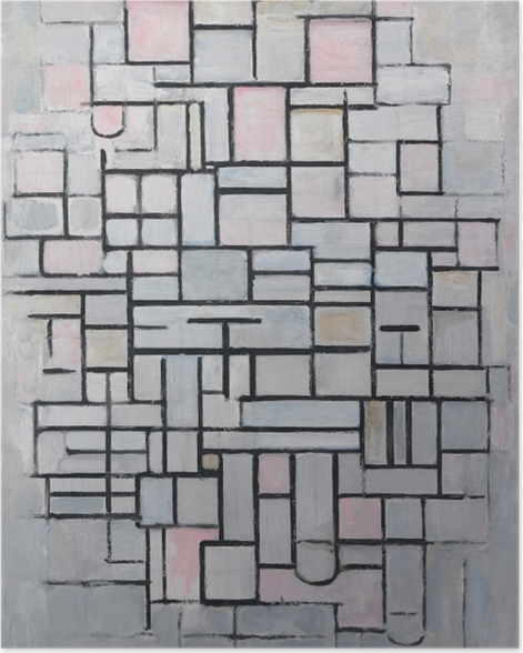 Poster Piet Mondrian - Composition n ° 4 - Reproductions
