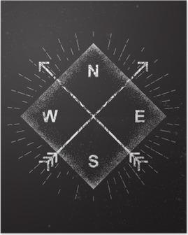 Poster Pilar, kompass, grungedesign, vektor