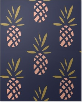 Pineapples on the dark background. Vector seamless pattern with tropical fruit. Poster