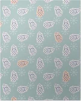 Pinecone seamless vector pattern. Blue pine scrapbook paper design. Blue background. Poster