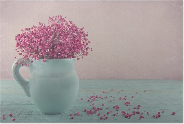 Pink babys breath flowers in a blue jug poster pixers we live pink babys breath flowers in a blue jug poster mightylinksfo