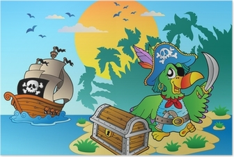 Pirate parrot and chest on island Poster
