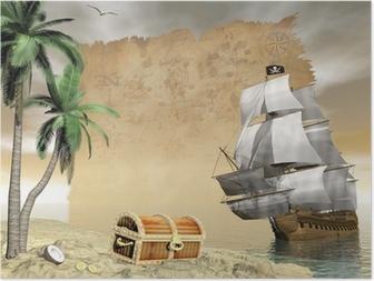 Pirate ship finding treasure - 3D render Poster