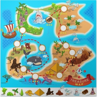 Pirate Treasure Map Poster