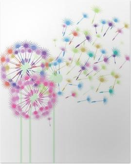 Poster Pissenlits colorés