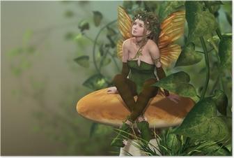 Pixie on a Mushroom Poster