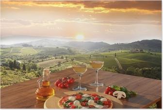 Poster Pizza et verres de vin blanc italien in Chianti, Italie