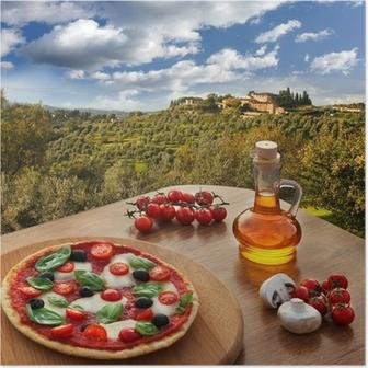 Poster Pizza italienne dans le Chianti, en Toscane paysage, Italie