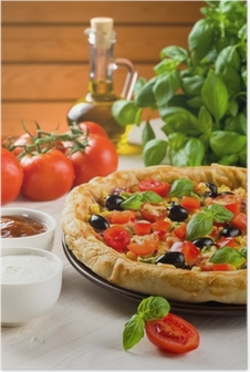 Pizza on wooden table Poster
