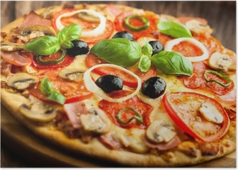 Pizza with Mushrooms, Salami and Chili Pepper Poster