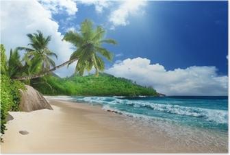Poster Plage à l'île de Mahé, Seychelles