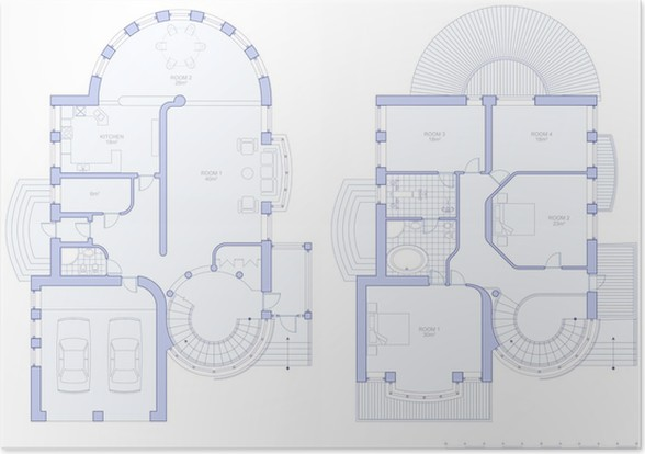 Plan house blueprint technical draw poster pixers we live to plan house blueprint technical draw poster malvernweather Gallery