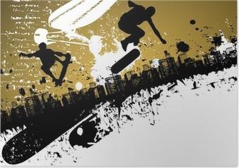 Poster Planche à roulettes abstraite fond de ville