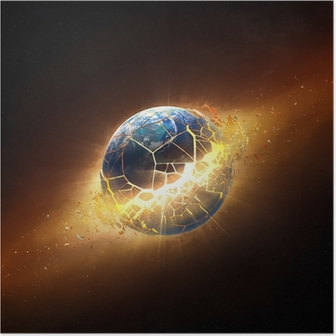Asteroids Collide And Explode In Space Poster Pixers We