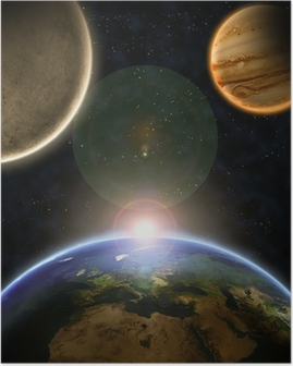 Poster Planètes avec le lever du soleil dans l'espace