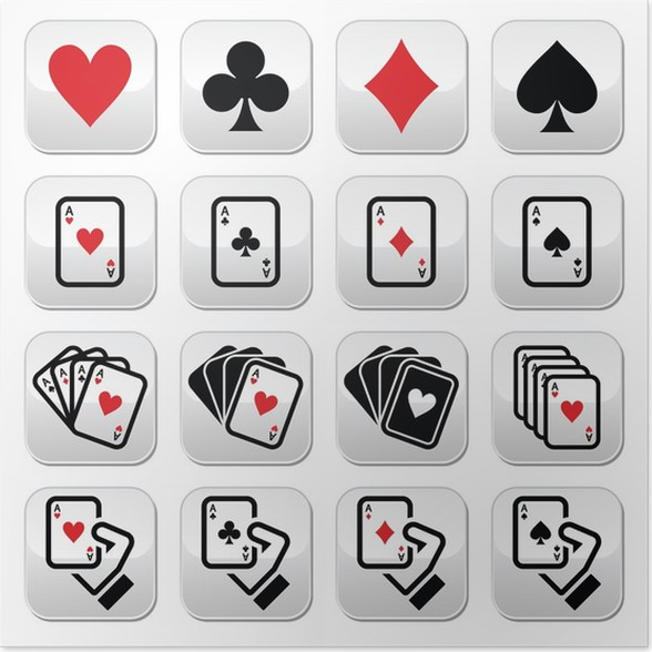 Playing Cards Poker Gambling Buttons Set Poster Pixers We
