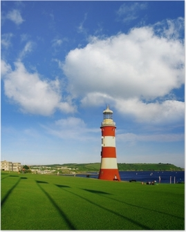 Plymouth lighthouse with sea-view in Devon, England Poster