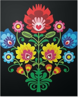 Polish folk embroidery with flowers - traditional pattern Poster