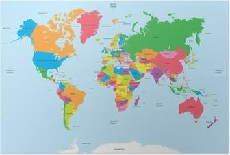 Poster Politisk världskarta vektor