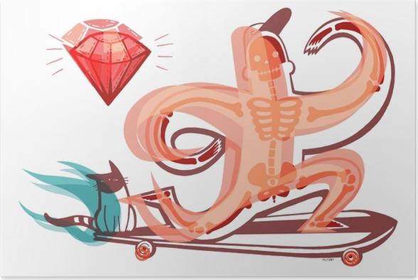 Pomarańczowy szkielet na longboardzie Poster - Prints and poster Teenager's room