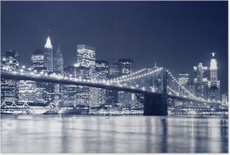 Poster Pont de Brooklyn et Manhattan Skyline At Night, New York City