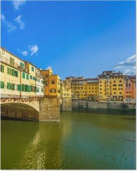 Poster Ponte Vecchio op zonsondergang, oude brug, Florence. Toscane, Italië.