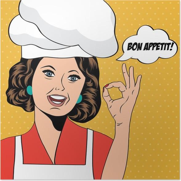 pop art woman cook poster pixers we live to change