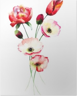 Poppy and Tulips flowers Poster