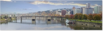 Portland Oregon Downtown Skyline and Bridges Poster
